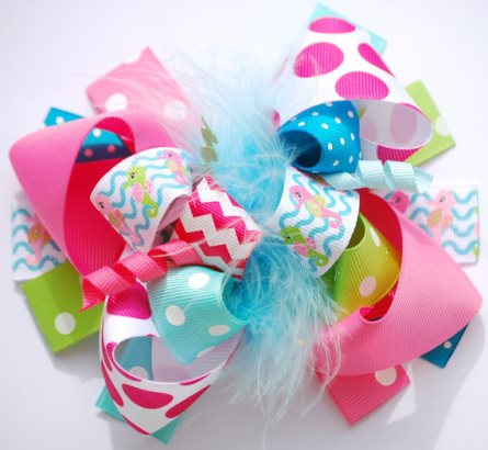 Beachy Seahorse Boutique Loopy Hair Bow-summer, sea, horse, seahorse, beach, hair, bow, hairbow, hot pink, aqua, blue, green, pool, party, chevron