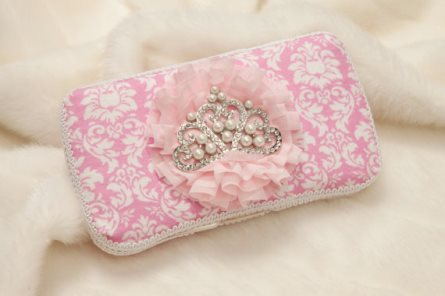 Pink & White Damask Print Baby Wipe Case with Large Pearl Rhinestone Crown-tiara, princess, crown, bling, rhinestones, girly, pink, damask, wipey, wipes, case, boutique