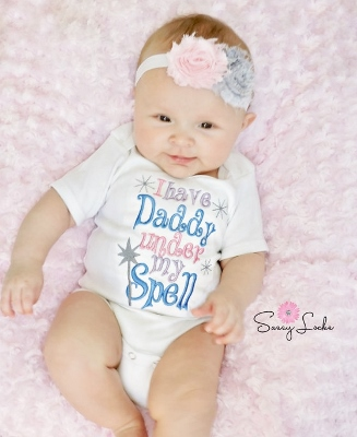 I Have Daddy Under My Spell Embroidered Onesie-daddy, embroidered, onesie, shirt, spell, baby, blue, lavender, light, pink, infant baby, girl