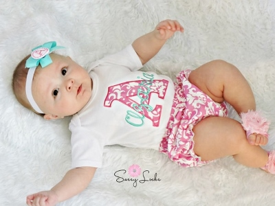 Hot Pink & Aqua Damask Personalized 3pc. Infant Outfit Set-hot pink, aqua, summer, outfit, newborn, infant, baby girls, outfit, set, boutique clothing, personalized
