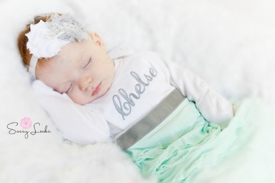 Personalized Gray & Mint Newborn Girl Take Home Outfit Gown & Headband Set-grey, gray, green, mint, newborn gown, gown, take home, hospital gown, custom, tiara, crown, princess, infant, baby girl, outfit, set, boutique, ruffle