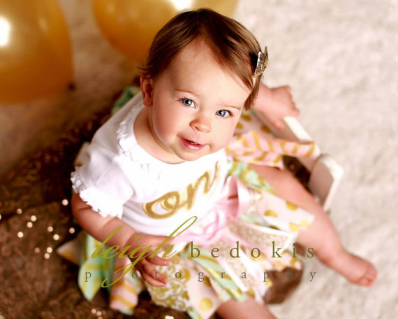 Pink, Mint & Gold First Birthday Ribbon Tutu Outfit Set-1st birthday, first birthday, birthday party, birthday, party, gold, one, infant, baby, girl, ribbon tutu, skirt, chevron, polka dots, baby girl, outfit, set, boutique