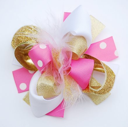 Mini Mod Hot Pink & Gold Boutique Loopy Hair Bow-hot pink, gold, shimmer, sparkle, white, loopy, boutique, hair, bow, big girl bow, infant, baby, girl, clip