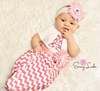 Hot Pink & White Chevron Monogram Initial Take Home Newborn Gown & Headband Set-hospital gown, newborn, infant, baby, girl, preemie, monogrammed, personalized, take me home, take home, hot pink chevron, sack, sac, boutique gown, handmade baby clothing