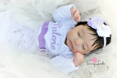 Lavender & White Personalized Newborn Girl Take Home Outfit Gown & Headband Set-newborn, take home, gown, infant, baby, girl, boutique, crown, tiara, outfit, boutique, set, hospital gown, take me home, baby girl
