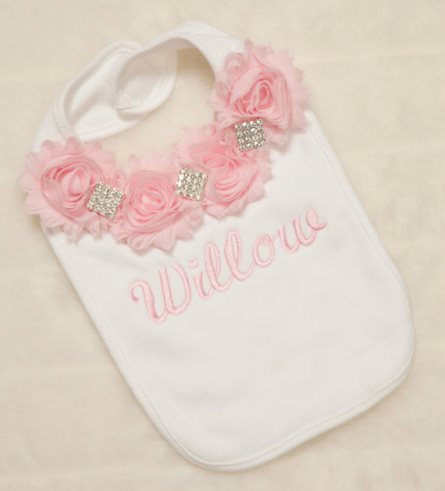 Rhinestone Chiffon Embroidered White Baby Girl Personalized Bib-baby bib, girly, infant, baby, girl, boutique, bling, personalized, couture, pink, white, custom