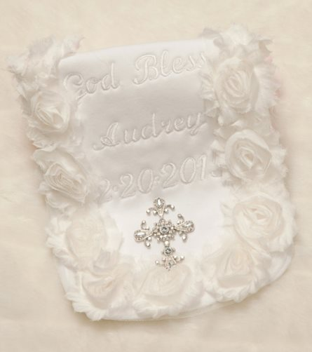 Special Occasion Personalized White Baby Burp Cloth for Christening-white, baptism, christening, dedication, newborn, infant, baby, girl, boutique, personalized, burp cloth, keepsake, shabby, cross, bling, rhinestone