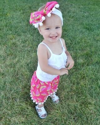 Hot Pink Pom Pom Watermelon Skirt & Headband Set-pom, pom, headband, top knot, head wrap, skirt, set, outfit, infant, baby, girl, boutique, skirt, hot pink, green, watermelon, picnic, summer