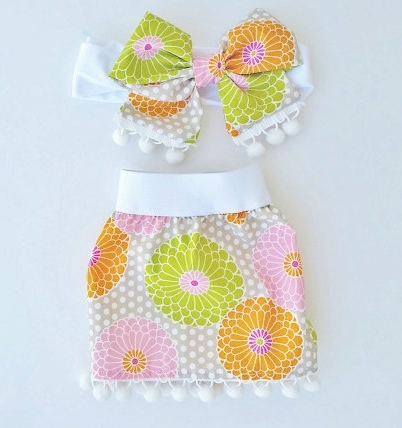 Bright Summer Flowers Pom Pom Skirt & Headband Set-gray, pink, orange, green, summer, outfit, set, newborn, infant, baby, girl, flower, bright