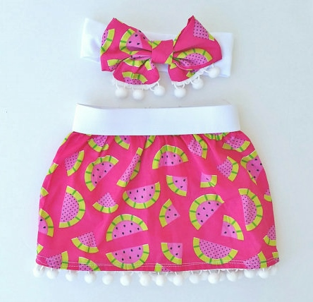 Hot Pink Pom Pom Watermelon Skirt & Headband Set-pom, pom, headband, top knot, head wrap, skirt, set, outfit, infant, baby, girl, boutique, skirt, hot pink, green, watermelon, picnic, summer