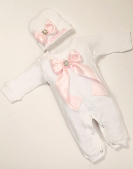 White Baby Girl Romper Set Personalized Infant One Piece with Embroidered Matching Hat-white, newborn, infant, baby, girl, baby boutique clothing, outfit, set, personalized clothing, light pink, white, romper, ribbon, couture, rhinestone, coming home, take me home, hospital outfit