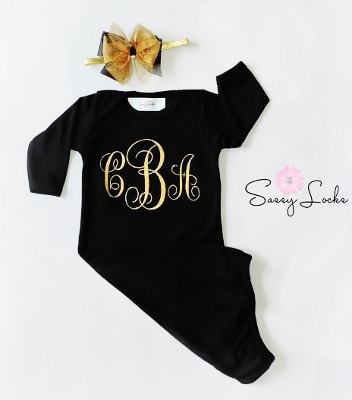 Black & Gold Monogrammed Newborn Layette Gown & Headband Set-holiday, christmas, infant, baby, girl, newborn, boutique, outfit, set, black, gold, monogram, personalized