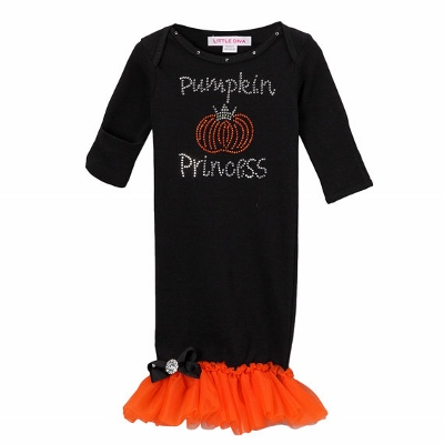 Black Pumpkin Princess Bling Layette Gown with Orange Ruffles-orange, black, ruffles, infant, newborn, layette gown, pumpkin, outfit, set, take home gown, rhinestone, bling, halloween