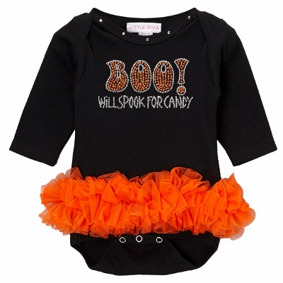 Boo! Will Spook for Candy Bling Black & Orange Tutu Onesie-halloween, outfit, costume, infant, baby, girl, boutique, rhinestone, infant, baby, girl, boutique, newborn outfit