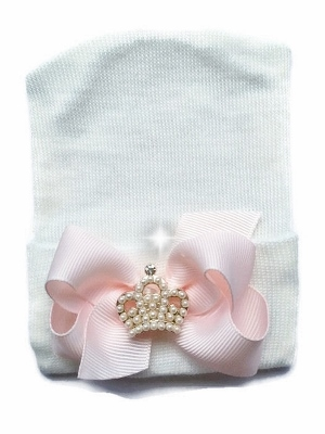 Newborn Couture Hospital Hat with Bow & Pearl Crown-princess, crown, tiara, infant, baby, girl, boutique hospital hat, newborn hospital hat, newborn, pink, white, pearls, bow