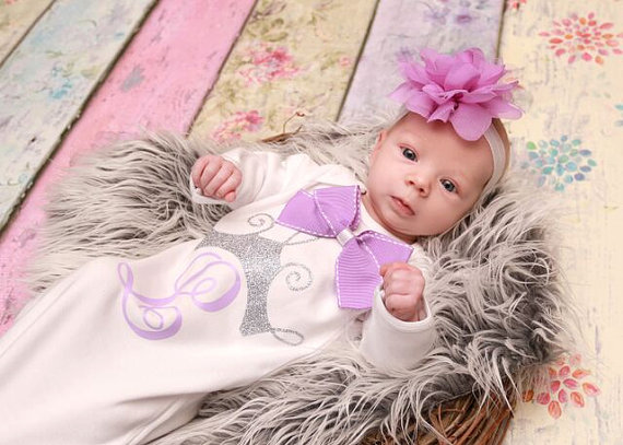 Personalized Silver Glitter Crown with Lavender Initial Newborn Layette Gown-monogram, lavender, light purple, infant, baby, girl, crown, princess, take home, take me home, outfit, gown, tiara, crown, outfit, boutique clothing, baby girl
