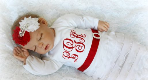 Red & White Personalized Newborn Girl Take Home Outfit Gown & Headband Set-monogram, monogrammed, newborn, infant, baby, girl, boutique, take home, take me home, outfit, gown, layette, outfit, set, hospital, christmas, holiday