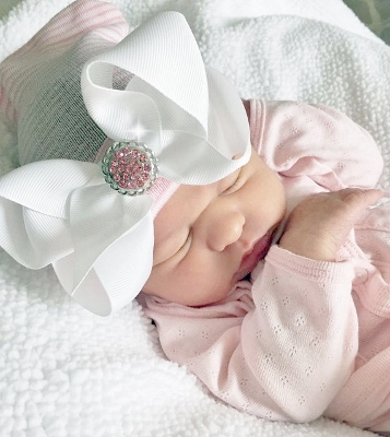 Newborn Hospital Hat with Detachable Bling Bow-couture, newborn, baby, girl, boutique hospital hat, infant, hairbow, bling, bow, newborn baby hat