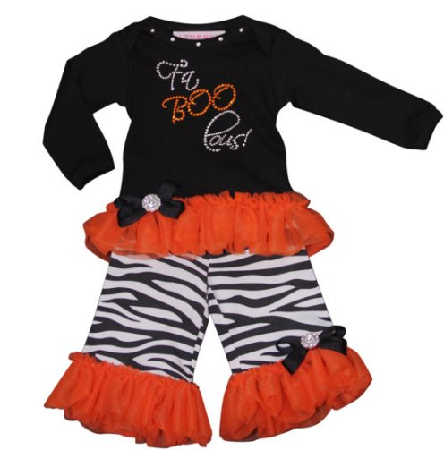 FaBooLous Zebra Bling Halloween Pants Set Outfit-bling, rhinestones, pants, long sleeves, halloween, outfit, set, infant, baby, girl, orange, black, animal, print, zebra