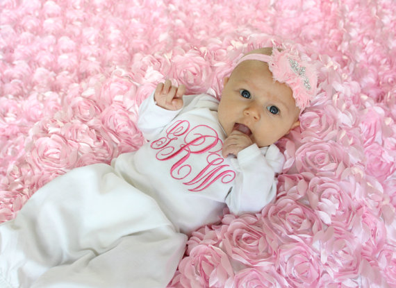 White & Pink Monogrammed Layette Gown & Headband Set-pink, hot pink, gown, newborn, latette, outfit, set, take home, hospital, take me home, crown, tiara, princess, baby, girl