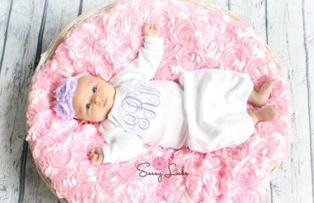 Lavender Newborn Monogrammed Layette Gown & Headband Set-lavender, light purple, monogram, newborn, infant, layette, ser, outfit, take home, take me home, hospital gown, personalized