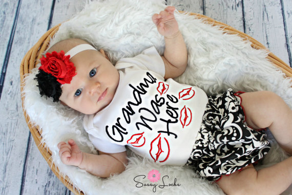 Grandma Was Here Kissy Lips 3pc. Damask Infant Outfit Set-red, black, damask, grandma, baby girl, newborn, infant, baby, girl, boutique, grandmas girl, clothing, boutique, embroiddered, outfit, set