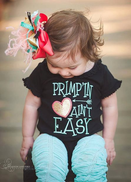 Primpin Aint Easy Onesie, Leggins & Hair Bow Outfit Set-black, aqua, blue, pink, onesie, outfit, set, infant, baby, girl, sassy, outfit, over the top, boutique, clothing