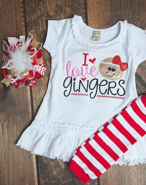 I Love Gingers Christmas Dress, Legginds & Hair Bow Outfit Set-gingerbread, christmas, cookie, man, dress, outfit, boutique, red, over the top, clothing, infant, baby, girl