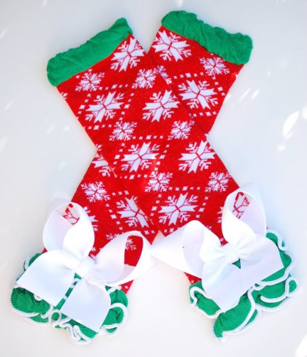 Classic Christmas Red Snowflakes Ruffled Leg Warmers with Bows-red, green, infant, baby, girl, boutique, leggings, leg warmers, christmas, holiday