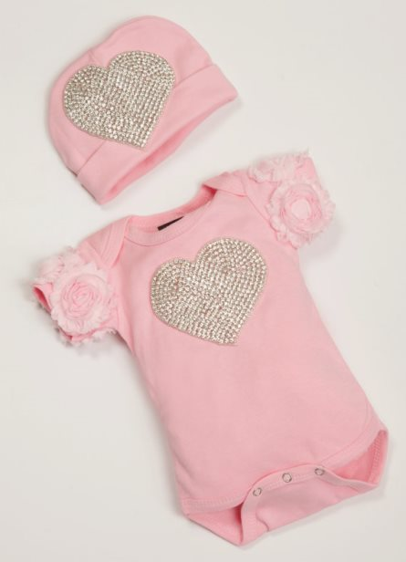 Pink Infant Baby Girl One Piece Set with Chiffon & Rhinestone Heart-light, pink, rhinestone, bling, heart, onesie, outfit, set, infant, baby, girl, newborn, boutique, couture, set, clothing