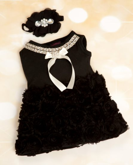 Baby Girl Little Black Dress with Chiffon & Rhinestone Collar-dressy, black, ivory, cream, fancy, christmas, holiday, rosette, rhinestone, bling, fancy, black
