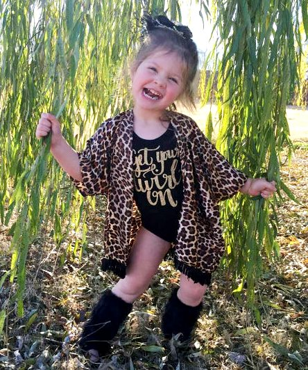 Cheetah Print Fringe Baby Girl Kimono-animal, print, cheetah, leopard, fall, cardigan, fringe, black, infant, baby, girl, trendy clothing, cute