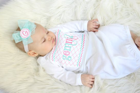 Aqua & Pink Personalized Newborn Gown & Headband Set-pink, aqua, newborn, infant, baby, girl, take home, take me home, hospital gown, newborn baby girl