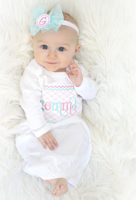 Aqua & Pink Personalized Newborn Gown & Headband Set-pink, aqua, newborn, infant, baby, girl, take home, take me home, hospital gown, newborn baby girl