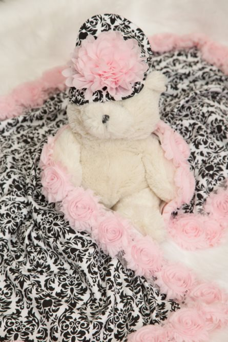 Baby Girl Black & Pink Damask Receiving Blanket with Matching Hat-pink, black, damask, blanket, receiving blanket, recieving, chiffon, flowers, baby blanket, infant, gift, newborn