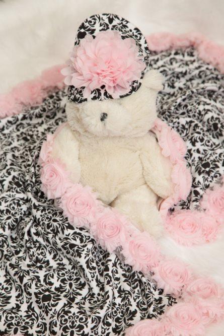 Baby Girl Black & Pink Damask Receiving Blanket with Matching Hat-pink, black, damask, blanket, receiving blanket, recieving, chiffon, flowers, baby blanket, infant, gift, newborn