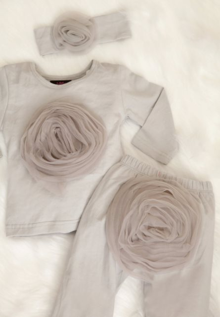 Infant Baby Girl Set Light Grey Beautiful Chiffon Outfit with Large Chiffon on the Chest & Matching Headband-grey, gray, pants set, outfit, infant, baby, girl, boutique, newborn, gift set, fall, boutique, flower