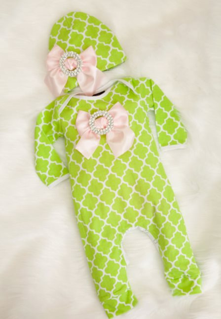 Pink & Lime Green Quatrefoil Infant Layette Romper with Large Rhinestone Bows & Matching Hat-spring, lime, green, light, pink, infant, baby, girl, newborn, boutique, outfit, clothing, baby girl