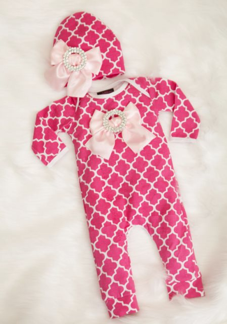 Hot Pink Quatrefoil Infant Layette Romper with Large Rhinestone Bows & Matching Hat-hot, light, pink, infant, baby, girl, spring, newborn, romper, outfit, hat, boutique, clothing, couture