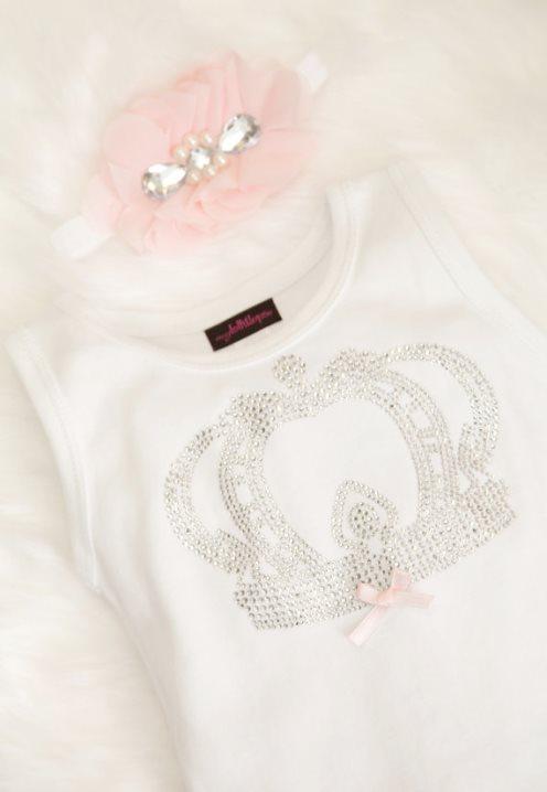 Baby Girl Cotton White Dress with Rhinestone Bling Royal Crown & Headband Set-dress, crown, princess, tiara, white, pink, baby dress, infant, couture, toddler