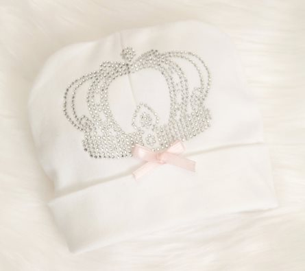 Infant Baby Girl Royal Princess Beanie Hat Cotton Hat-crown, tiara, hospital hat, cotton, hat, bow, pink, princess, newborn, baby, girl, rhinestone, bling
