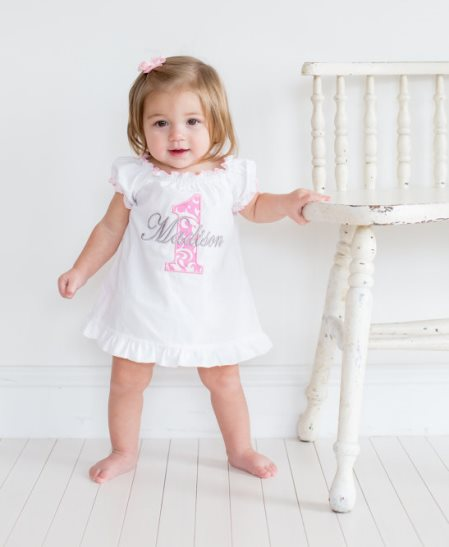 Baby Girl 1st Birthday Pink Damask Personalized Birthday Dress-smash cake, outfit, pink, damask, dress, birthday, boutique, clothing, personalized, infant, baby, girl, 2nd, second