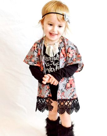 Gray Floral Lace Baby Girl Kimono-floral, gray, grey, infant, baby, girl, trandy clothing, baby style, black,