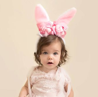 Baby Girls Pink Easter Bunny Ears Headband with Bows-bunny ears, rabbit, bunny, headband, pink rabbit ears, pink bunny ears, easter, bows