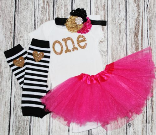 Girls First Birthday Hot Pink Gold ONE Glitter Tutu Outfit Set-Girls First Birthday Outfit, Pink Gold Black Birthday Set , One Gold Romper, Baby Girls 1rst birthday, Cake Smash Set, Tutu, Hairbow, 1st, party, birthday, outfit, set