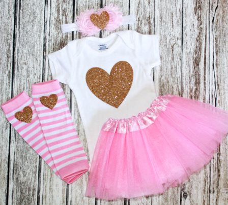 Pink Gold Glitter Heart Onesie Tutu Outfit Set-Pink Gold Heart Tutu Set, Girls clothing, Photography baby prop, leg warmers Gold baby romper, baby Girl clothing, gold baby girl shirt, pink and white, outfit, set, tutu set, gold heart, glitter onesie, onesie, tutu