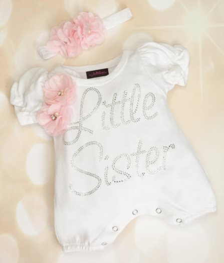 Bubble Romper Baby Girl Bling Little Sister White Infant One Piece Set with Chiffon & Matching Headband-white and pink, little sister, infant, baby, girl, little, sister, newborn, outfit, set, bling