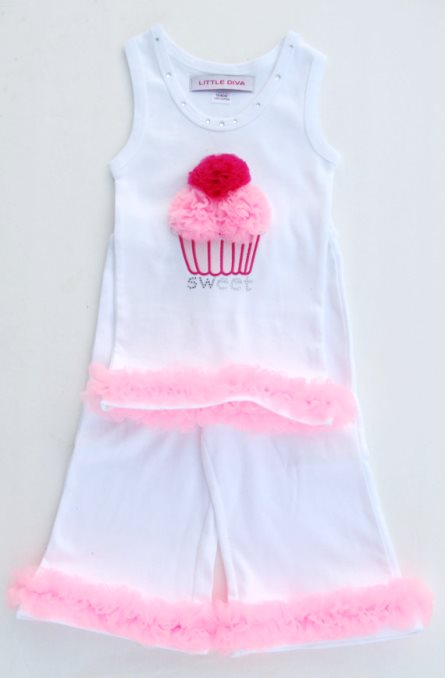 White Capri Tank Cupcake Set with Pink Ruffles Outfit-pink, white, hot pink, birthday, summer, white, cupcake, sweet, tank top, capri pants, toddler, outfit, set