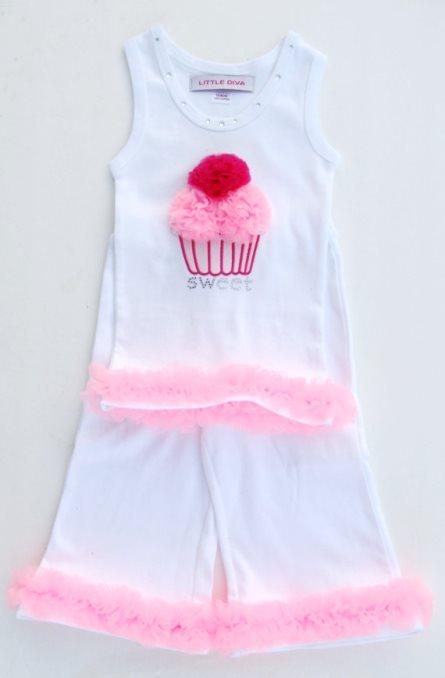 White Capri Tank Cupcake Set with Pink Ruffles Outfit-pink, white, hot pink, birthday, summer, white, cupcake, sweet, tank top, capri pants, toddler, outfit, set