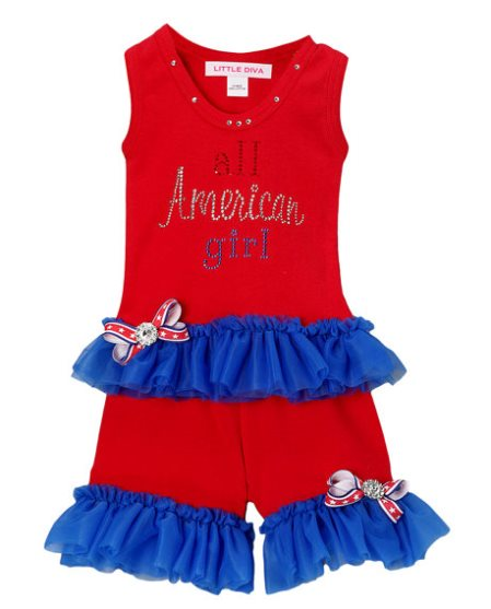 All American Girl 4th of July Red Tank & Shorts Outfit Set-july 4th, 4th of july, american, patriotic, red, blue, red whit and blue, outfit, summer, tank, shorts